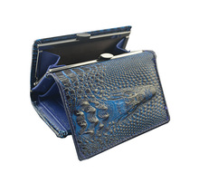 New Women Top Genuine Leather Trifold Crocodile Wallets For Bolsa Feminina Purse Magic Closure Bags