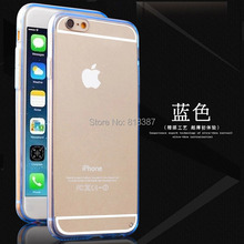 Fashion Design Soft Transparent TPU + Full Clear Acrylic Case Cover Shell for iPhone 6 6S 4.7 inchWith Dust Plug 200pcs/lot