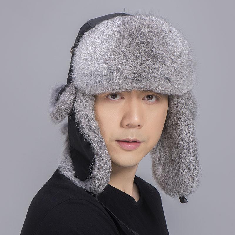 rabbit fur trapper hat grey black 3