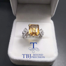TBJ,100% 925 sterling silver with natural citrine 5ct up oct 10*12 for women,female rings,original fine jewelry