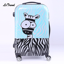 LeTrend 320/24 inch Rolling Luggage Spinner Men ABS+PC Donkey head Cartoon Travel bag Trunk Student Password box Trolley Women