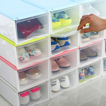 FASHION Multi-function Clear Foldable Strong Plastic Shoes box Storage Box Organizer Drawers Stackable Organizer