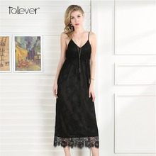 Buy Summer Women Long Dress Fashion Black Lace Chiffon Sexy Dresses Female Casual Sling Strapless Elegant Ladies Party Dress Talever for $12.99 in AliExpress store