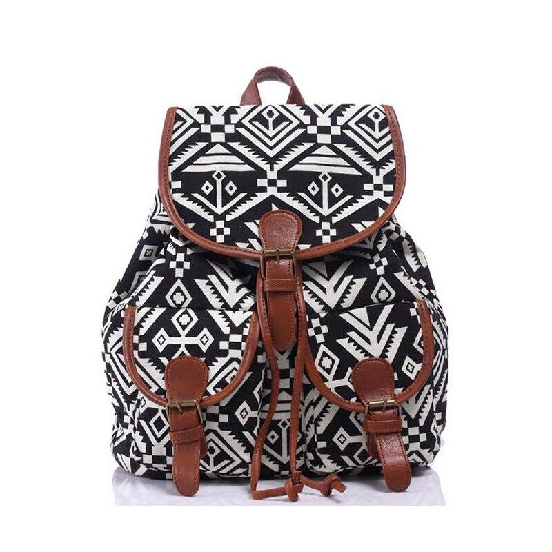 Hot Sale National Canvas Women Backpacks Brand Design Anchor Floral Printing Ethnic Shoulder Bag Tassel Drawstring Knapsack CC67<br><br>Aliexpress