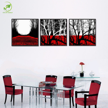 Modern 3pcs Landscape Paint Black Red Trees Modular Foam Board Canvas Oil Painting Room Wall Art Picture Home Wall Decor Poster
