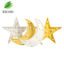 EECOO 1Pc Cute Moon/Star Shape Led Night Light Home Bedroom Baby Kids Room Decoration Lamp Lovely Night Light