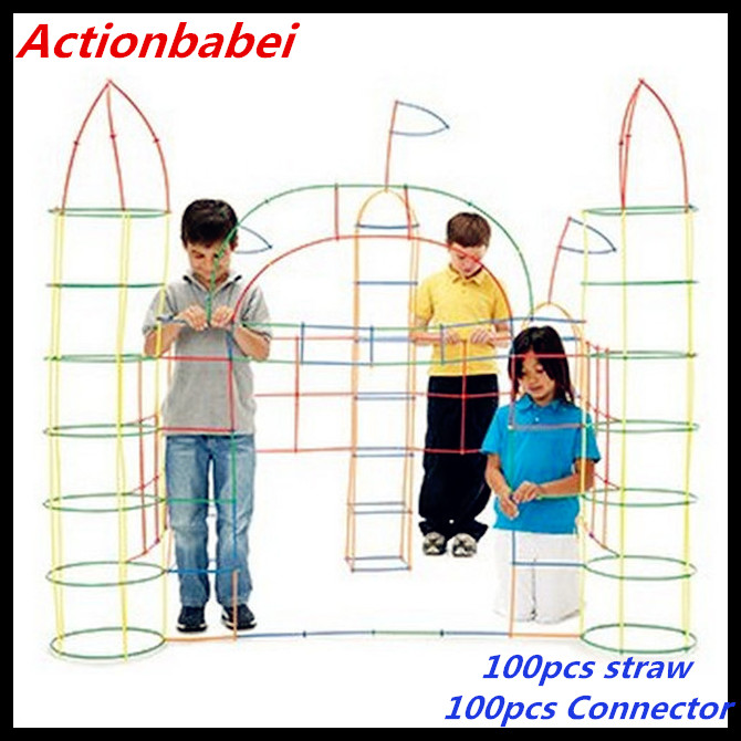 100Pcs Straw Stick Building Blocks Constructor Enginner Kids Creative Toys CO