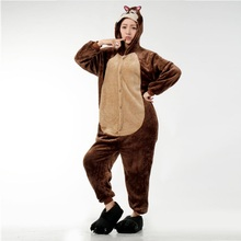 Hollowen Custume Brown Pijama Women Men Flannel Pyjama Woman Cute Animal Chipmunk Pajamas Hooded Sleepwear PE28747(China)