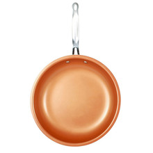 Non-stick Copper Kitchen Frying Pan Ceramic Coating Induction cooking Oven & Dishwasher safe 24CM Brown