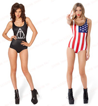 Striped USA Flag Vintage One piece Swimsuit Red Sexy Bodysuit Women Black The Deathly Hallows Swimwear Triangle Bathing Suit