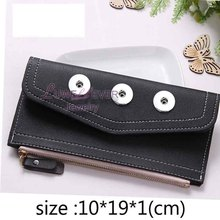 High Quality Simple Style Bag Snap Button Purse Pu leather Wallet Bags Charms Jewelry For Women Fit 18mm Button 19cm*10cm *1cm