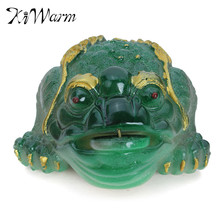 KiWarm Resin Three Legged Chinese Lucky Money Toad Figurine Statue with Fortune Coin Feng Shui Home Ornaments Bring Wealth