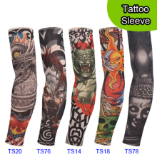 5 PCS new mixed 92%Nylon elastic Fake temporary tattoo sleeve designs body Arm stockings tatoo for cool men women