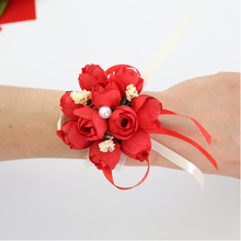 6Pcs Wrist Flower Rose Silk Ribbon Bride Corsage Hand Flower Decorative Wristband Bracelet Bridesmaid Curtain Band Clip Bouquet
