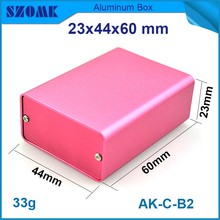 4 pcs/lot custom aluminum enclosure for electronic in pink color 23(H)x44W)x60L) mm small aluminium case housing