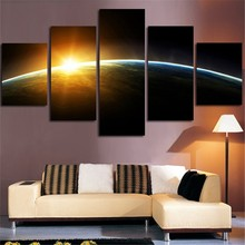 2017 5Planes Wall Art Canvas Painting Sunrise Surface Of Earth Home Decor Tableau Modular Picture Print For Living Room(China)