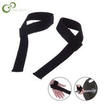 2 pcs Men Leather Padded Gym Weight Lifting Straps Crossfit Wrist Support Wraps Hand Bar Bodybuilding Strength Power Training Y4(China)