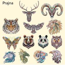 Prajna Animals Tiger Cat Iron on Patches Transfers For Clothes T shirt Jacket Hot Thermal Vinyl Heat Transfer Stickers Applique(China)