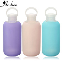 Arshen New Fashion Colorful 500mL Glass Water Bottle Glass Beautiful Gift Women Water Bottles with Protective Silicon Case Tour