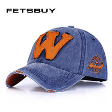 [FETSBUY] Washed Denim Snapback Hats Autumn Summer Letter W Men Women Baseball Cap Fitted Sunblock Beisbol Casquette Hockey Caps(China)