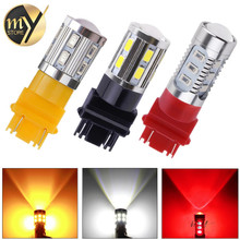 2pcs 3157 3156 led High Power 5730 LED Amber Yellow Turn Signal White P27W T25 car bulbs Red P27/7W Car Light Source lamp 12v(China)