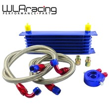 WLRING STORE- UNIVERSAL 7ROWS OIL COOLER KIT + OIL FILTER SANDWICH ADAPTER + STAINLESS STEEL BRAIDED OIL HOSE BLUE