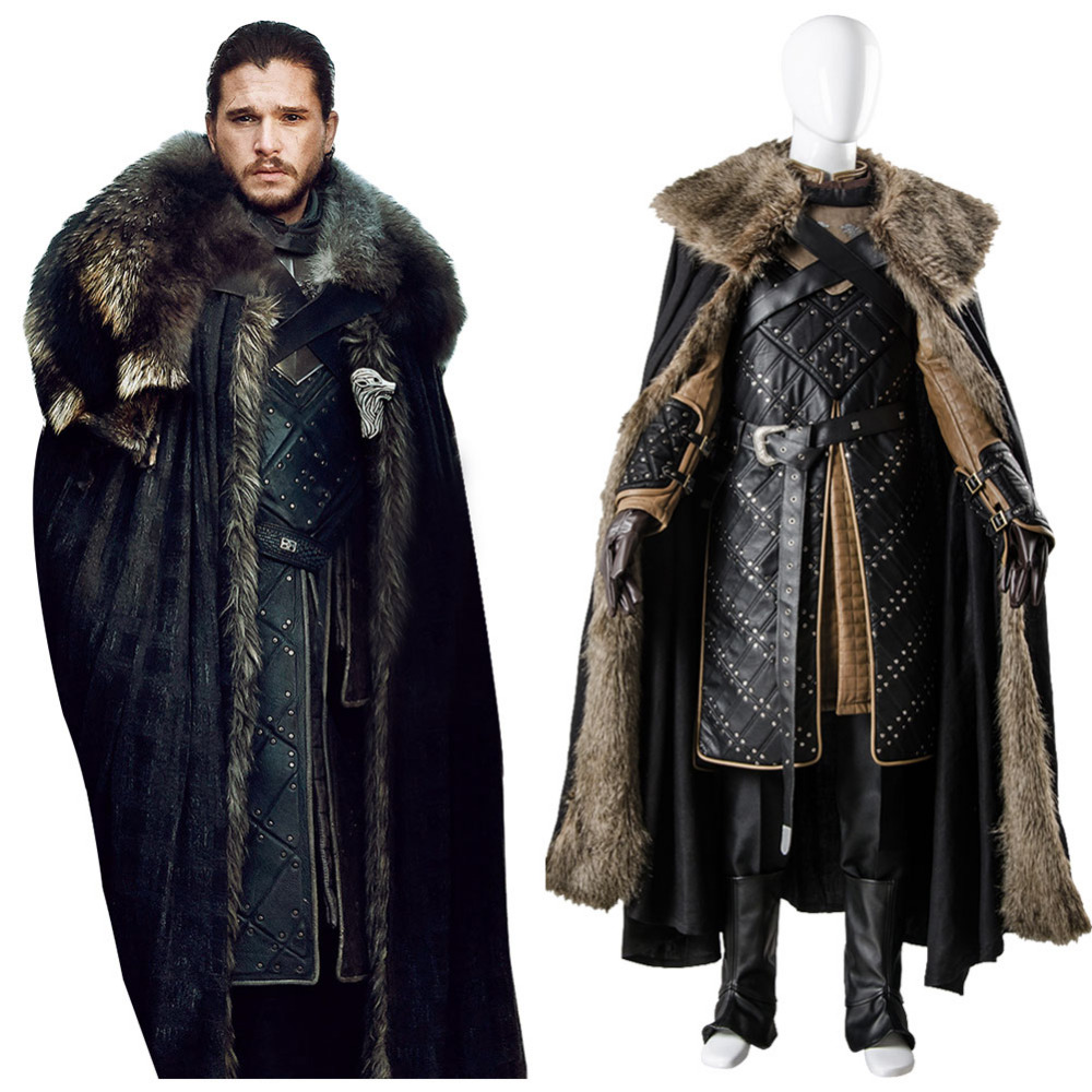 (In Stock)GoT 7 Game of Thrones Season 7 Cosplay Jon Snow Costume Adult Men Halloween Party Coaplay Full Sets title=
