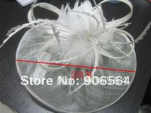 EMS fast free shipping whole sale the fashion high quality sinamay hats white women fascinator hats fashion wedding bridal hats(China)