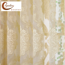 {Byetee} Jacquared Yellow Window Curtains For Living Room Sheer Tulle in Kitchen Door Cheap Organza Curtain Solid Cortinas(China)