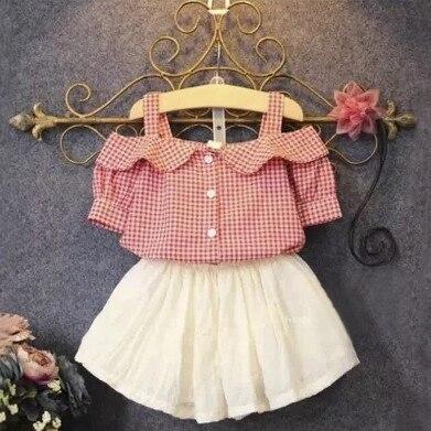 2 pieces Set 2016 Summer Children Set Childrens Leisure Clothing Girls The strapless Lattice T-shirt+ Skirts Kids Fashion Set<br><br>Aliexpress