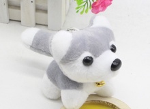 HOT Gift Fluffy Husky Dog - 9CM Stuffed Plush Toys With Bell Dog toys - Gift key chain Decor Plush Stuffed TOY