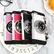 3D Camera Design Case Cover for Apple iPhone 6s Case with Sling Silicone Cover with Strap Rope for iPhone 6 6sPlus 6 Plus Shell(China)