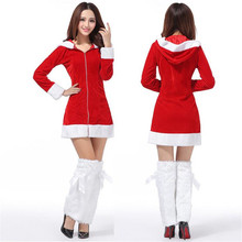 Jinggton oval  Ladies Sexy Santa Costume Women Mrs Christmas Party Fancy Two Parts Dress Cosplay Suit