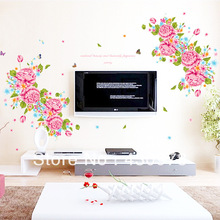 QZ032 Free Shipping 1Pcs Country Side Big Flower Green Leaf Fit For Beadroom Living Room Decoration Removable PVC Wall Stickers