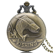 Vintage Bronze Fishing Angling Quartz Antique Pocket Watch for Men and Women P108