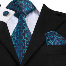 C-534 Hi-Tie Fashion Blue Green Gradient Mens Ties Neck ties Geometric Jacquard Silk Ties for Men Suits 8.5cm Soft Corbatas(China)