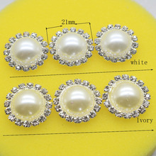 10pcs / Set 21mm Round ivory White Rhinestone Button Wedding DIY Gift Box Accessories, Girl Hair Accessories Free shipping(China)