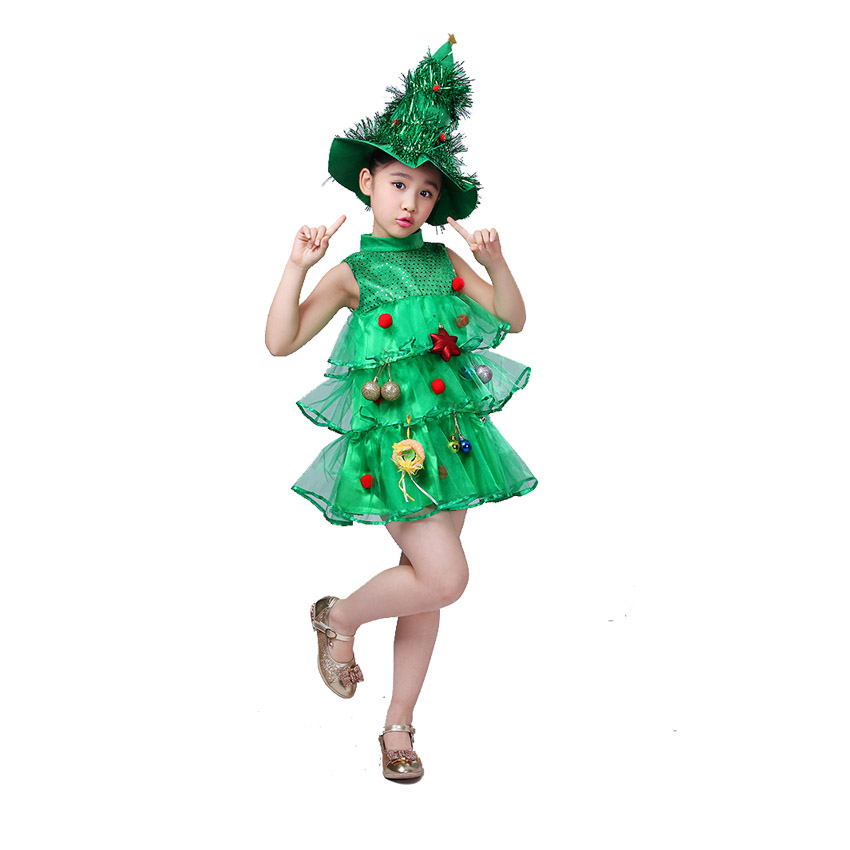 Baby Girl Sleeveless Dresses Children Kids Elas anna Clothes Girls Cosplay Halloween Costumes Christmas Tree Dress With Hat 3-12<br>