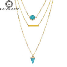 B0913 Cube Design Necklace Natural Triangle Turquoises Resin Alloy Bar Pendant Necklace Women Jewelry Multi Layer Charm Gift