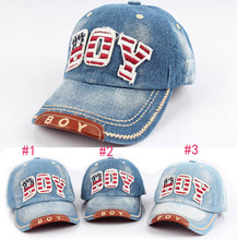 2014 Kids Baseball Caps Baby Has & Caps Fashion Letter Boy Jean Denim Cap Baby Boys Girls Sun Caps 5 pcs/lot(China)