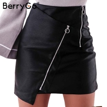 Buy BerryGo Punk short black pencil skirt Vintage high waist zipper leather skirt Autumn winter 2017 mini skirts womens bottoms for $14.99 in AliExpress store