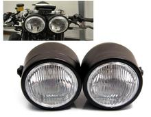 New Blsck Twin Headlight Motorcycle Double Dual Lamp Motocross Streetbike Dominator New For Harley Honda Yamaha Kawasaki Suzuki