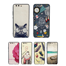 Cartoon Cat flowers For Huawei Ascend P10 P10Plus P10 Lite TPU mobile phone bag case housing cover for huawei mate 8 9 nova para