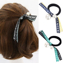 M MISM Girls Fashion Ribbon Bow Elastic Hair Bands Perfect Quality Letter Rubber Scrunchy for Women Lovely Fine Hair Accessories(China)