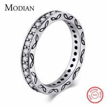 Modian 2017 New Fashion Classic Vintage silver ring Wedding 3MM CZ Real 925 Sterling silver Ring Bands Jewelry for women Gift(China)
