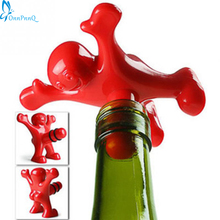 OnnPnnQ 1pc Newest Novelty Bar Tools Wine Cork Bottle Plug Funny Happy Man Guy Wine Stopper Perky Interesting Gifts