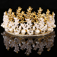 Gold Color Handmade Wedding Bridal Crystal Round Crowns Princess Queen Pageant Prom Pearl Luxury Tiara Beauty Hair Accessories