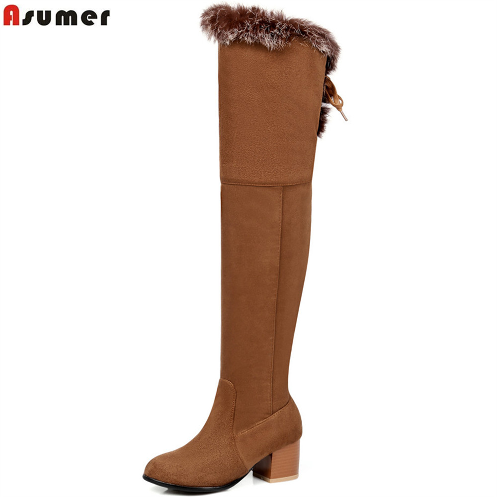 ASUMER 2018 fashion new arrive women boots round toe flock ladies boots square heel cross tied faux fur over the knee boots<br>