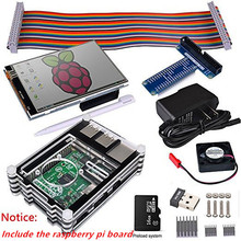 Raspberry Pi 3 2 Complete Starter Kit with PI+USB Adapter+3.5 inch Touch Screen+16GB+Case+Power Supply+GPIO Board +Fan+Heat Sink