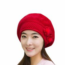 FEITONG Winter Beanie Hat Fashion Women Ladies Flower Knitting Wool Crochet Fur Pom Poms Hat Warm Cap Beret muts erkek bere#3(China)